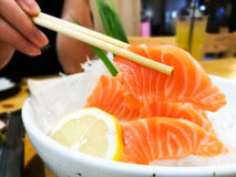Slices of raw salmon sashimi Stock Photography