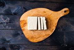 Slices of raw tofu Royalty Free Stock Image