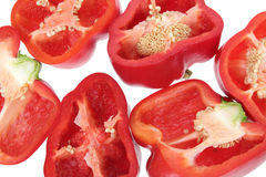 Slices of Red Capsicums Stock Photography
