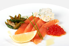 Slices of red fish stock photos
