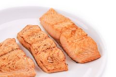 Slices of red fish fillet on plate. Stock Images