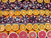Slices of red grapefruit, orange, orange, Royalty Free Stock Image