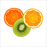 Slices of red and orange ripe orange and kiwi green. On a white background Royalty Free Stock Photography