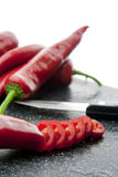 Slices of red paprika royalty free stock photos