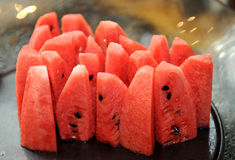 Slices of red watermelon Stock Photo
