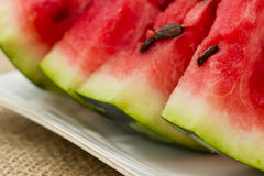 Slices of red watermelon on a plate Stock Photo