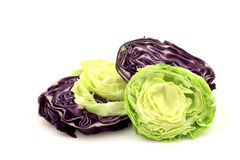 Slices of red and white cabbage Stock Image