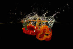 Slices of red and yellow peppers falling in water Stock Photos