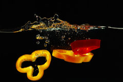 Slices of red and yellow peppers falling in water Royalty Free Stock Photography