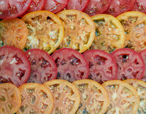 Slices of red and yellow tomatoes. Culinary background. Selective focus Royalty Free Stock Image