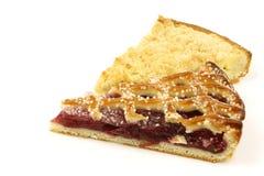 Slices of rice and cream and cherry pie Stock Photo