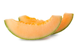 Slices of ripe cantaloupe melon Stock Photography