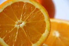 Slices of ripe orange. Macro view of slices of ripe oranges royalty free stock photography