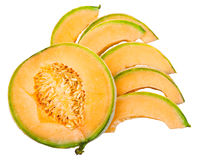 Slices of ripe sicilian cantaloupe melon isolated Stock Photo
