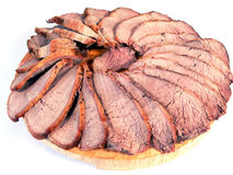 Slices of roast beef royalty free stock photo