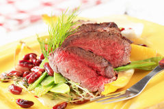 Roast beef with vegetable garnish Stock Photography