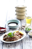 Slices of roast pork trotters. Royalty Free Stock Image