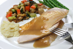 Slices of roast turkey with stuffing Stock Photography