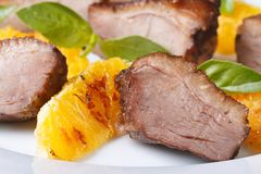 Slices of roasted duck with orange macro on a plate horizontal Royalty Free Stock Photo
