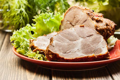 Slices of roasted shoulder Royalty Free Stock Images