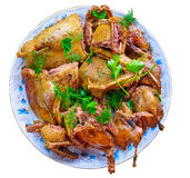 Slices of roasted wild duck on plate. Stock Image