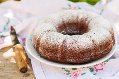 Slices of Rustic Style Bundt Cake Sprinkled with Icing Sugar Stock Photo