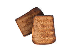 Slices of rye bread grilled isolated on white background Royalty Free Stock Images