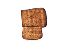 Slices of rye bread grilled isolated on white background Stock Image