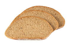 Slices of rye bread isolated on white Stock Photo
