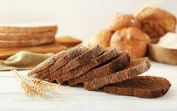 Slices of rye bread. On table Royalty Free Stock Images