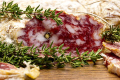 Slices of salame from Italy Stock Photo