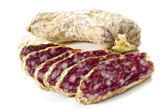 Slices of salame from Italy Royalty Free Stock Photography