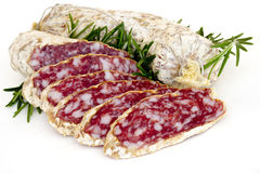 Slices of salame from Italy Royalty Free Stock Images