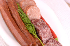 Slices of salame from tuscany Royalty Free Stock Image