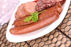 Slices of salame from tuscany Royalty Free Stock Photo