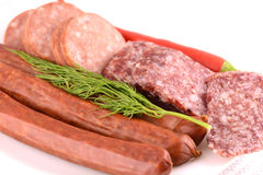 Slices of salame from tuscany Royalty Free Stock Photos