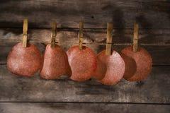 Slices of salami hanging Stock Image
