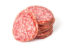 Slices salami isolated on a white Royalty Free Stock Images