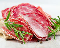 Slices of salami Stock Image
