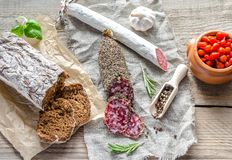 Slices of saucisson and spanish salami Royalty Free Stock Photography