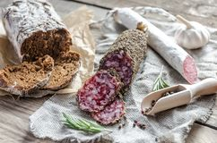 Slices of saucisson and spanish salami Royalty Free Stock Images