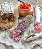 Slices of saucisson and spanish salami Stock Images