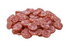 Slices of sausage. Isolated on a white background Stock Photos