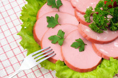 Slices of sausage, salad and parsley on the plate Royalty Free Stock Photo