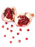 Slices and seeds pomegranate. Stock Photo