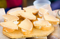 Slices of sheep cheeses Stock Photography