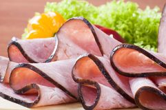 Slices of smoked ham Royalty Free Stock Photography