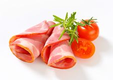 Slices of smoked pork - rolled up Royalty Free Stock Images