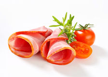 Slices of smoked pork - rolled up Stock Photography