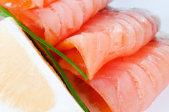 Slices smoked salmon Royalty Free Stock Photos